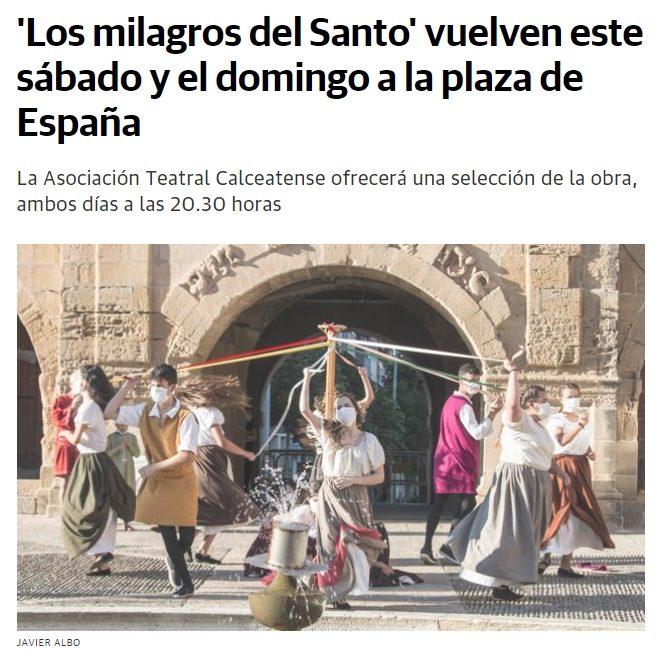 Aparición de «Los milagros del Santo» en el diario La Rioja